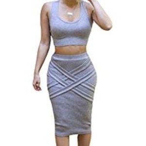 NWT Bess Bridal Womens Crop Top Midi Bandage Dress